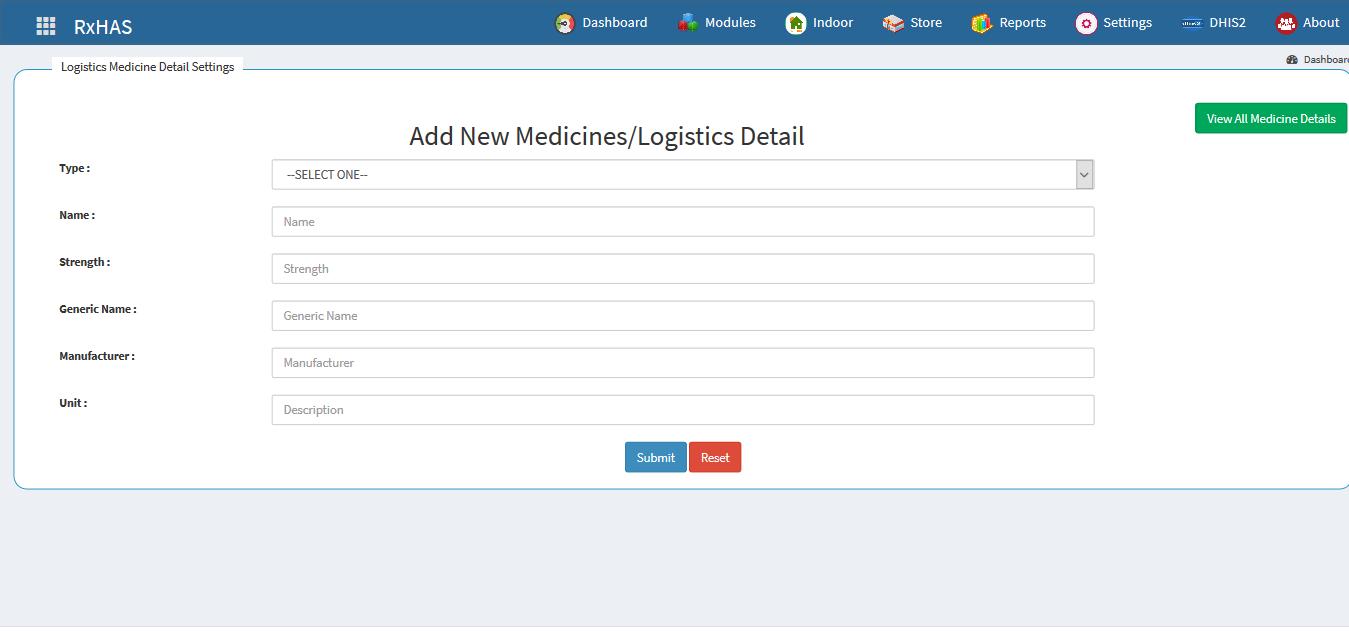 New Medicines / Goods Setup